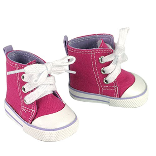 - Fits American Girls Dolls , Hot Pink High Tops Doll Sneakers with Lavender Detail, Doll Hi Tops in Hot Pink