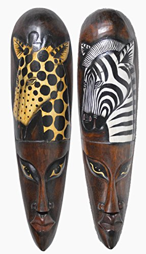 Set of 2 African Zebra and Giraffe Mask Large Jungle Art (Face Wall Art Mask)