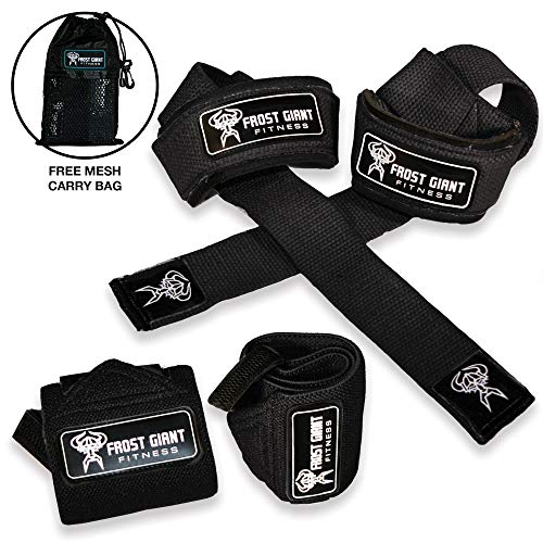 Wrist Wraps & Lifting Straps - Combo Set for Weightlifting, Crossfit, Powerlifting, Bodybuilding, Lifting and Gym Workouts - Heavy Duty Exercising Hand and Wrist Support for Men & Women ()