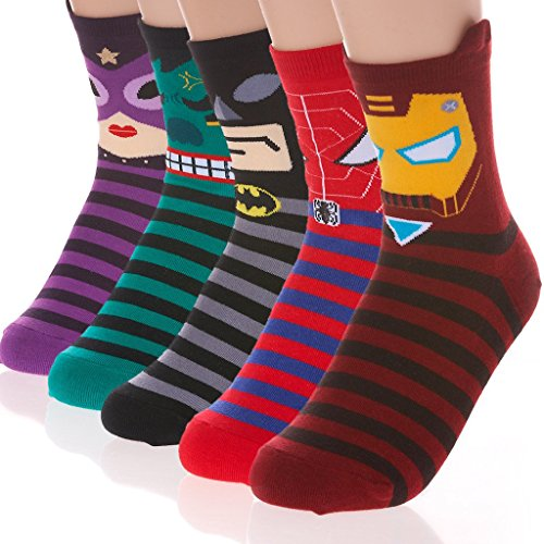 DearMy Womens Famous Cartoon Japanese Animation Print Cotton Blend Crew Socks (Super Hero 5 Pairs)