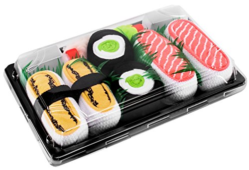 SUSHI SOCKS BOX 3 pairs Tamago Cucumber Salmon FUNNY GIFT! Made in Europe S