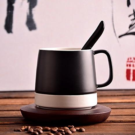 ... café continental simple jarras esmeriladas con tapa cuchara Home Office tazas de agua de cerámica, vidrio negro con un portavasos de madera: Amazon.es: ...