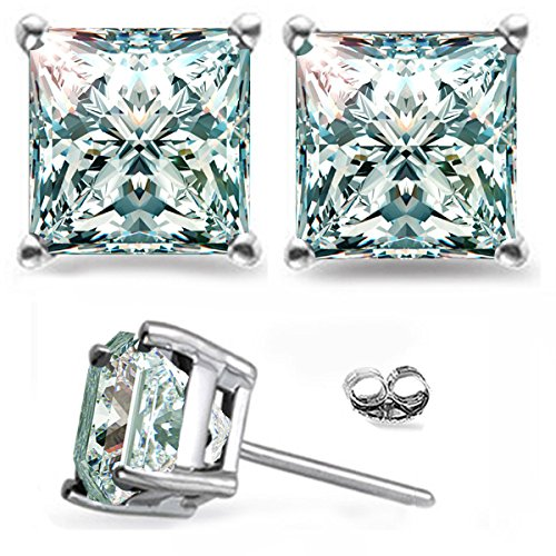 - RINGJEWEL Silver Plated Princess Real Moissanite Stud Earrings (2.22 Ct,Ice Blue White Color,VVS1 Clarity)