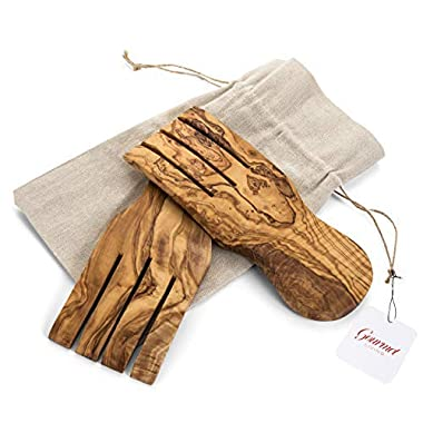 Olive Wood Salad Servers | Wooden Claws for Cooking and Tossing Salads | Each Natural Wood Hand is Enclosed in a Linen Bag