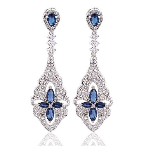 Crystal Earrings Flower Drop (GULICX Elegant Flower Rain Drop Crystal Long Chandeliar Earrings Blue Sapphire Color CZ Silver Tone)