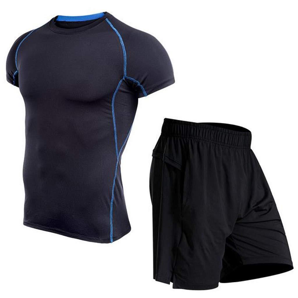 Celucke Herren 2 Stücke Sport Anzug Laufshirts + Laufshorts, Kompression Atmungsaktiv Stretch Kompressionsshorts Trainingsshorts Performance T-Shirt für Fitness