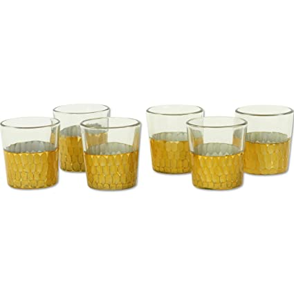 Amazoncom Koyal Wholesale Dipped Cut Glass Votive Holders 6 Pack
