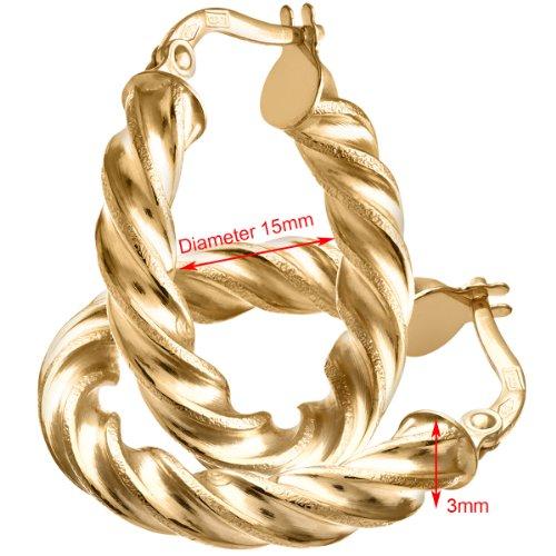 Revoni Bague en or jaune 9carats Diamant 15mm-Boucles d'Oreilles Créoles Femme-0,3cm Tube