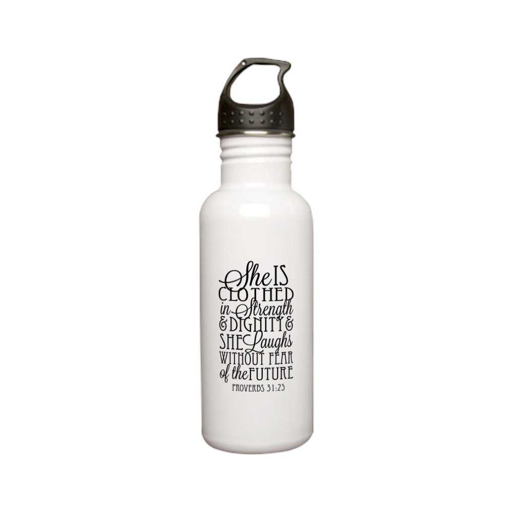 CafePress - Clothed In Strength Dignity Stainless Steel Water - Stainless Steel Water Bottle, 0.6L Sports Bottle