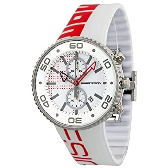 Momo Design Jet White and Red Dial White Rubber Strap Mens Watch MD1187-RB-