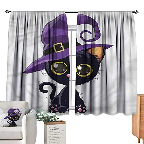 Mannwarehouse Breathable Curtain Cute Halloween Theme Witch Kitten W63 xL63 Suitable for Bedroom,Living,Room,Study,etc.