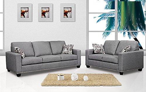 Amazon.com: 2 Piece Sofa Set Sofa & Loveseat Dark Grey Color ...