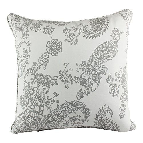 Antique Cotton Lace (Homey Cozy Jacquard Cotton Throw Pillow Cover,Antique Cream Gray Paisley Lace Decorative Square Modern Couch Cushion Pillow Sham Case 20 x 20 Inch, Cover Only)