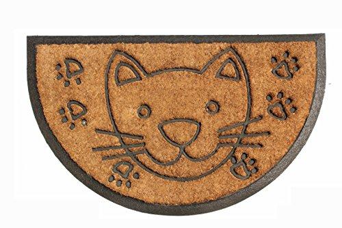 """Decorative Cat Inlaid Welcome Door Mat Coir 18"""" X 30"""" Inch"""