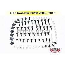VITCIK Full Fairings Bolt Screw Kits for Kawasaki EX250R Ninja 250 EX-250R ZX250R 2008 2009 2010 2011 2012 Motorcycle Fastener CNC Aluminium Clips (Black & Silver)