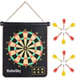 Magnetic Dart Board with 12pcs Dart Flights for Kids and Adults, Rabosky Double Sided Hanging Roll Up DartBoard Set, Office Home Outdoor Board Games, Cool Toy Gift for Boys