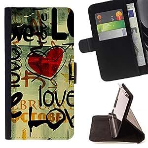 BullDog Case - FOR/Apple Iphone 4 / 4S / - / Love Grunge Heart /- Monedero de cuero de la PU Llevar cubierta de la caja con el ID Credit Card Slots Flip funda de cuer