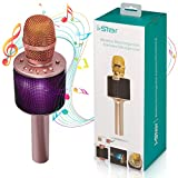 Bluetooth Karaoke Microphone | Wireless 3-in-1 Portable Handheld Karaoke Machine For Adults and Kids | Pairable Mic For Duets With Multi Color LED Lights | 5W Speaker for Android and iPhone iOS | Gold