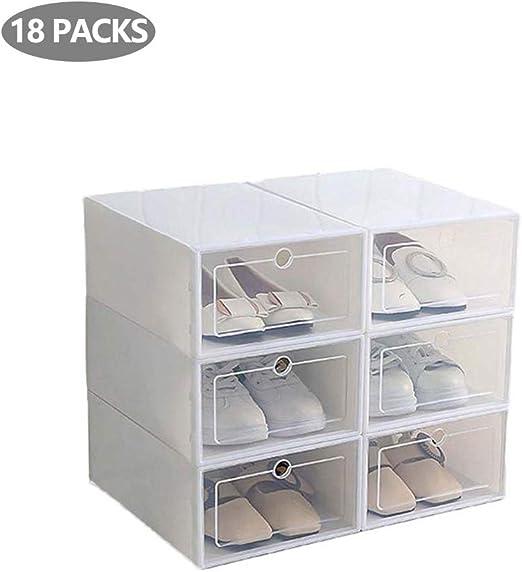 HXZB 18PCS Apilable Zapato Organizador Caja A Prueba De Polvo ...