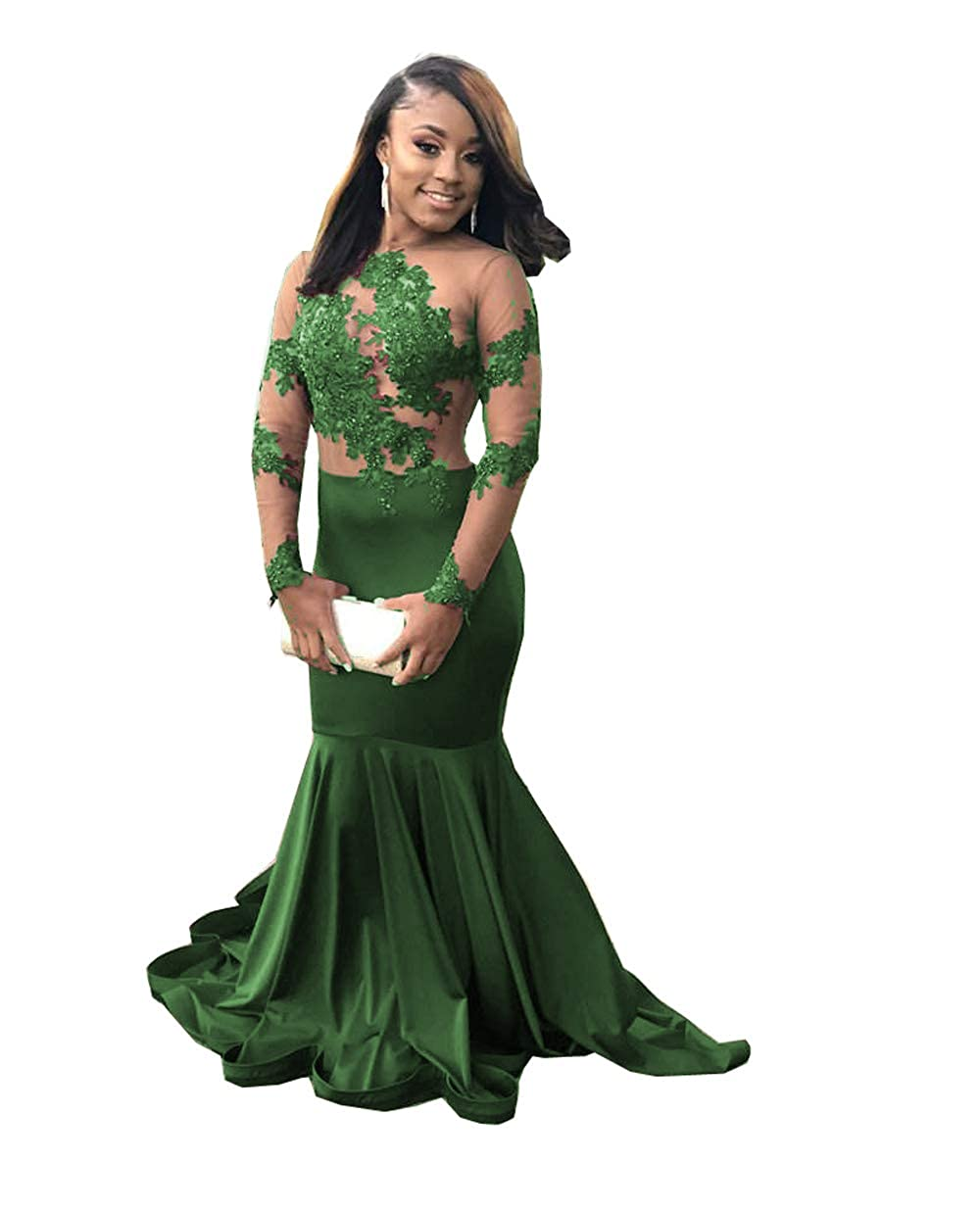 Dark Green MariRobe Women's Mermaid Lace Applique Prom Dresses Illusion Long Sleeves Formal Gowns