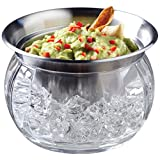 Jumbl Stainless Steel Dip Bowl w/Acrylic Vented Ice Chamber Base – Lid Included