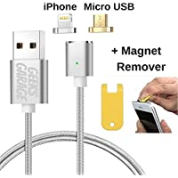2 in 1 Magnetic Phone Charger with Micro USB and iPhone Adapters for any Android and Apple Smartphone Devices HTC Moto LG Samsung Iphone7 iPhone6