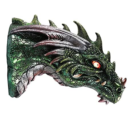 Medieval Times Green Dragon Wall Plaque With LED Illuminated Eyes Sculpture Home Decor