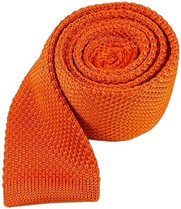 The Tie Bar 100% Knitted Silk Tangerine Solid Knit 2 Inch Tie