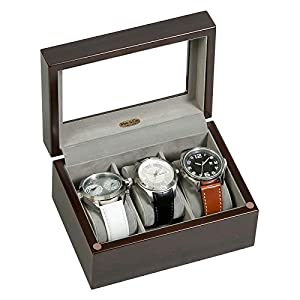 Mele & Co. Granby Glass Top Wooden Watch Box – 7L x 5W in.