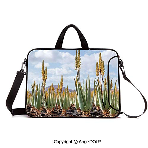 AngelDOU Neoprene Laptop Shoulder Bag Case Sleeve with Handle and Extra Pocket Photo from Aloe Vera Plantation Medicinal Leaves Remedy Fuerteventura Canary Isl Compatible with MacBook/Ultrabook/HP/A