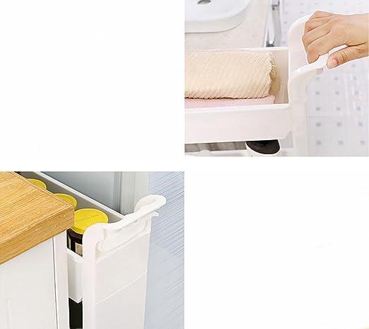 Bianco CFstc Carrelli portaoggetti da Cucina Scorrevole su Torre di stoccaggio Mobile Ripiano Mobile con Ruote 2 Livelli e 3 Piani e 4 Piani per Cucina Bagno Soggiorno
