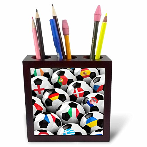 3dRose ph_155022_1 England Germany Portugal Spain, DM, Czech Republic Italy France Greece Ukraine Flags on Soccer Balls Tile Pen Holder, 5-Inch by 3dRose