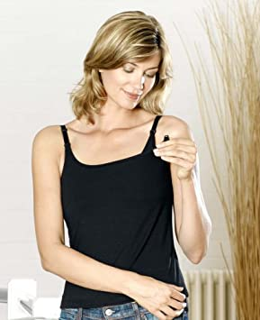 e9561fde1af68 Image Unavailable. Image not available for. Colour: Nursing Breastfeeding  Vest Top Size 10/12 Black