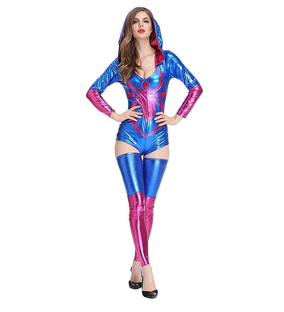 Amazon.com: welvt Womens Spider-Girl Deluxe Spider Catsuit ...