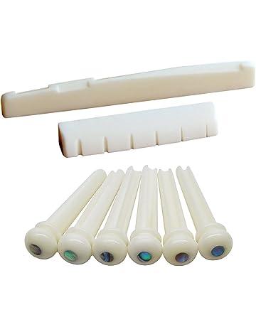 Blisstime 6 String Acoustic Guitar Bone Bridge Saddle and Nut and 6pcs Guitar Bone Bridge Pins