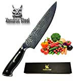 XENDROS STEEL Professional Japanese Steel Chef Knife 8 inch Damascus Laser Etched Design 67 Layers VG10 Steel Kitchen Knife | High Carbon Steel, Best Kitchen Knife | Stronger than Damascus Steel!