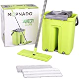 Squeezy Clean Self Cleaning flat mop system by Mopnado with 2 Washable Microfiber Mop Heads