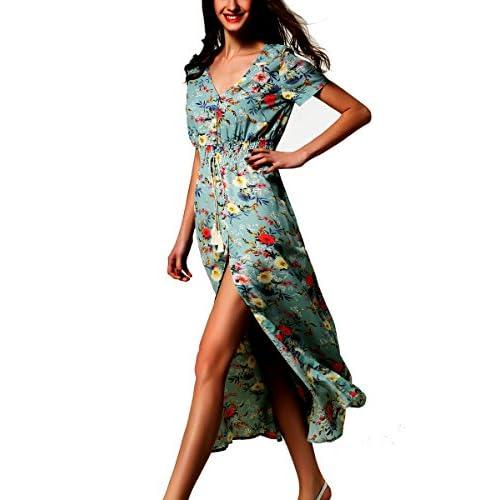 960e16ac954f ARANEE Women's Button Up Split Floral Print Long Maxi Boho Bohemian Dress  50%OFF