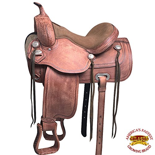 HILASON 17″ Western Horse Saddle American Leather Treeless Trail Pleasure O110
