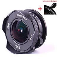 PIXCO 8mm F3.8 Fish-eye C mount Wide Angle Fisheye Lens Suit For Micro Four Thirds Mount Camera Micro 4/3 Focal length Fish eye Lens GX8 G7 GF7 GH4 GM1 GX7 GF6 E-M10 II E-M5 II + lens cleaning pen