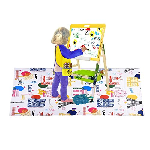 Washable Kids Painting Drop Cloth with France Attractions Pattern for Art Easel And 1 Pack Children Art Smock Kids Art Aprons with Waterproof Long Sleeve 3 Roomy Pockets (Yellow)