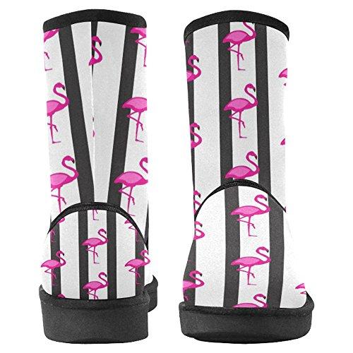 Bottes De Neige Womensprintprint Bottes Dhiver De Confort Conçu Unique Flamant Rose Sur Noir Et Blanc Multi 1