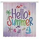 SATVSHOP Shower-Curtain-with-Hooks-for-Bathroom-Showers,-Stalls-and-Bathtubs-LIF-tyle-Hello-Summer-Motivational-Quote-with-Cocktail-Umbrella-Palms-Starfish-Holiday-Lilac.W72-x-L90-inch