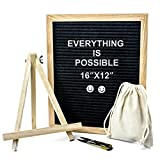 Changeable Felt Letter Board with 340 Letters, Numbers & Symbols, Changeable Wooden Message Board Sign, Felt Letter Board with Oak Wood Frame, Wall Mount, With Free Canvas Bag (Black, 16'' x 12'')