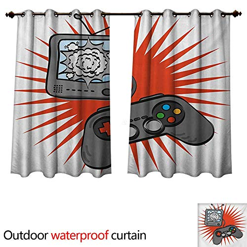WilliamsDecor Boys Room Home Patio Outdoor Curtain Video Games Themed Design in Retro Style Gamepad Console Entertainment W63 x L63(160cm x ()