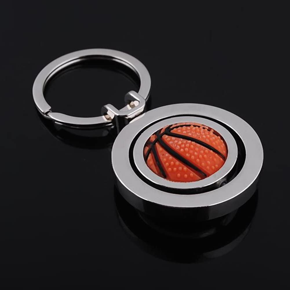 ETbotu Fashion Key Ring Decoration Creative Basketball Sports Keychain Hanging Accessary Rotatable Ball Pendant