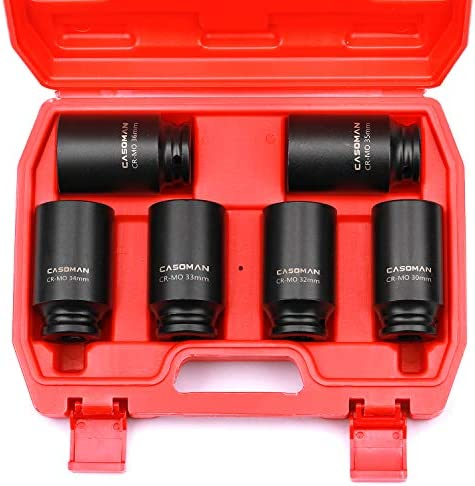 "CASOMAN 1/2- Inch Drive Deep Spindle Axle Nut Impact Socket Set, 6-Piece 1/2"" Dr. Deep Impact Socket Set,6 Point, CR-MO, Metric, Impact Grade, 30mm, 32mm, 33mm, 34mm, 35mm, 36mm"