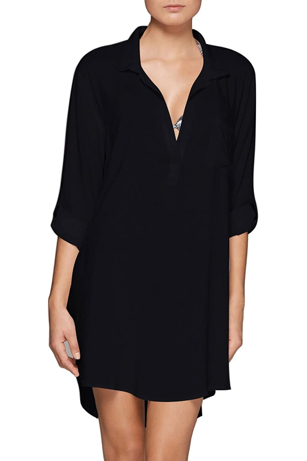 0e94ab6a8f The perfect oversized shirt dress. Great for over bathers at the pool. Long  roll sleeves for sun coverage ,Side splits ,Pockets.