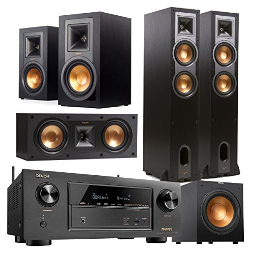 Denon AVR-X2300W 7.2 Channel Full 4K Ultra HD Bluetooth A/V Receiver and Klipsch 5.1 Speaker Package (Black)