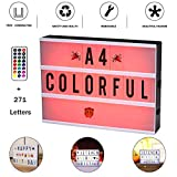 A4 Cinema Light Box with Letters Night Light- 272 Total Letters, Numbers Emojis 16 Colors With Remote Controll Color Changing Cinematic Marquee Sign Light Box LED Light Up Letter Box Sign